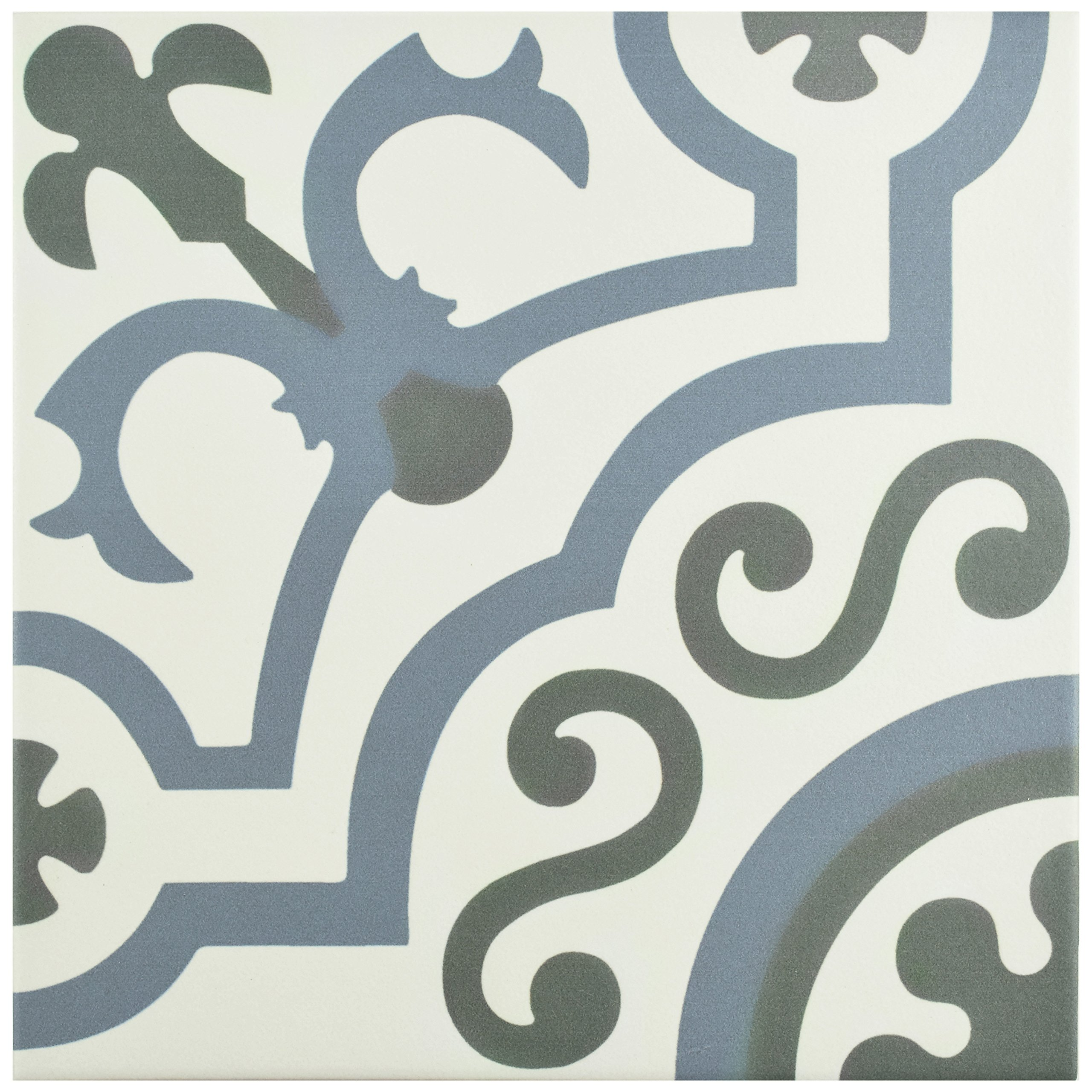 SomerTile FCD10HDU Hydro Ducados Porcelain Floor and Wall Tile, 9.75'' x 9.75'', White/Blue/Grey