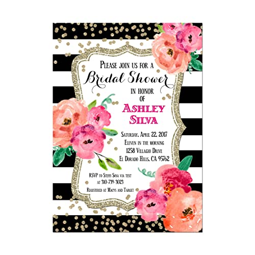 Amazon black and white striped bridal shower invitation with black and white striped bridal shower invitation with water color flowers and gold glitter look filmwisefo