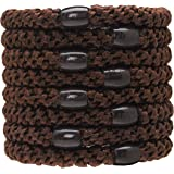 L. Erickson Grab & Go Ponytail Holders, Coffee, Set of Eight - Exceptionally Secure with Gentle Hold