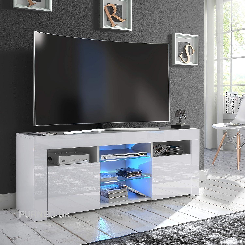 Furneo White Tv Stand 120cm Unit Cabinet Matt High Amazon Co Uk Electronics