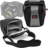 Sacoche pour Canon PowerShot SX420 IS appareil photo Bridge - en noir / gris, boucle de ceinture et bandoulière - DURAGADGET