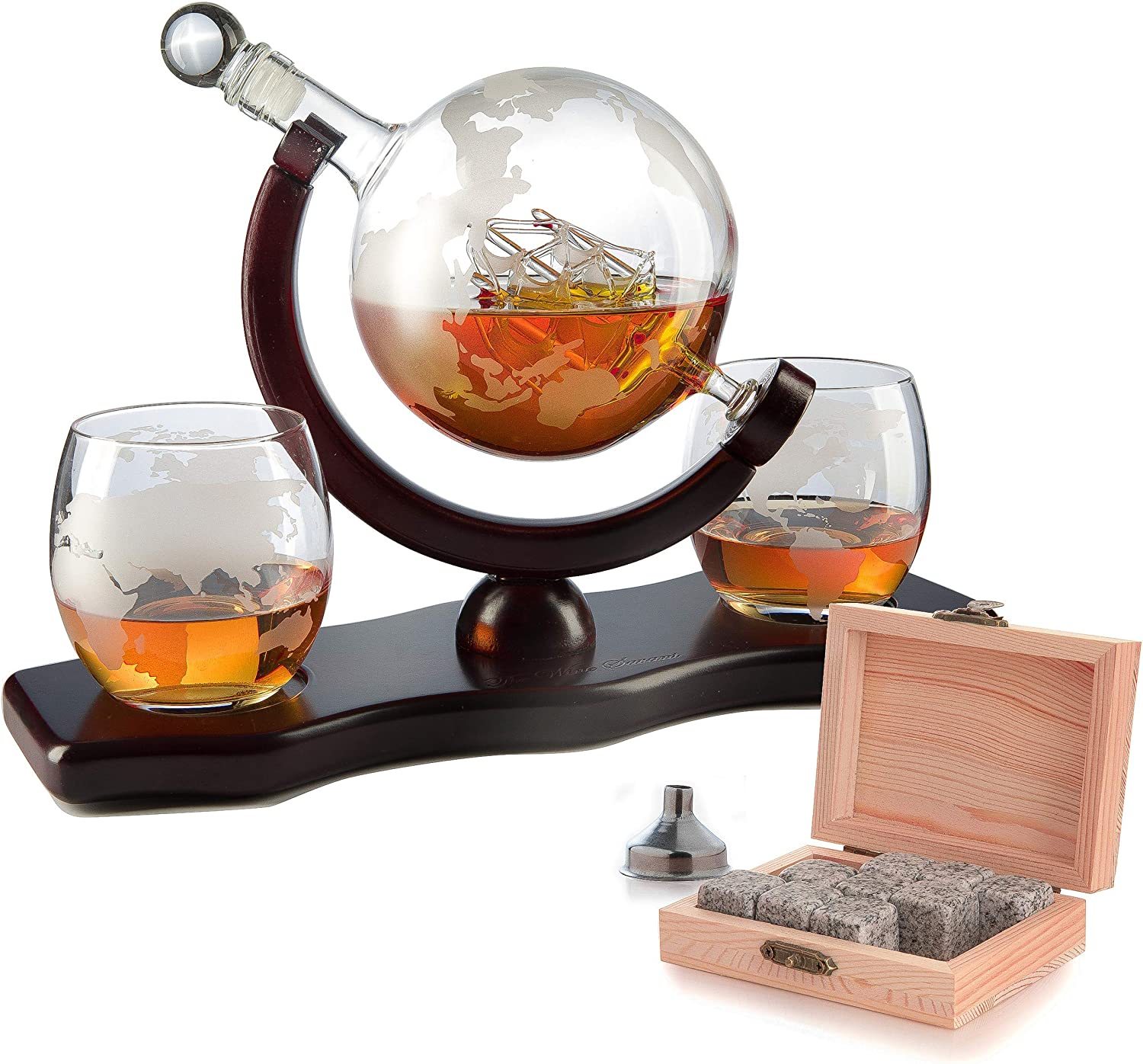 Whiskey Decanter Set Globe With 2 Etched Globe Whisky Glasses Comes With Whiskey Stones For Whiskey Scotch Bourbon 850ml Amazon Ca Home Kitchen