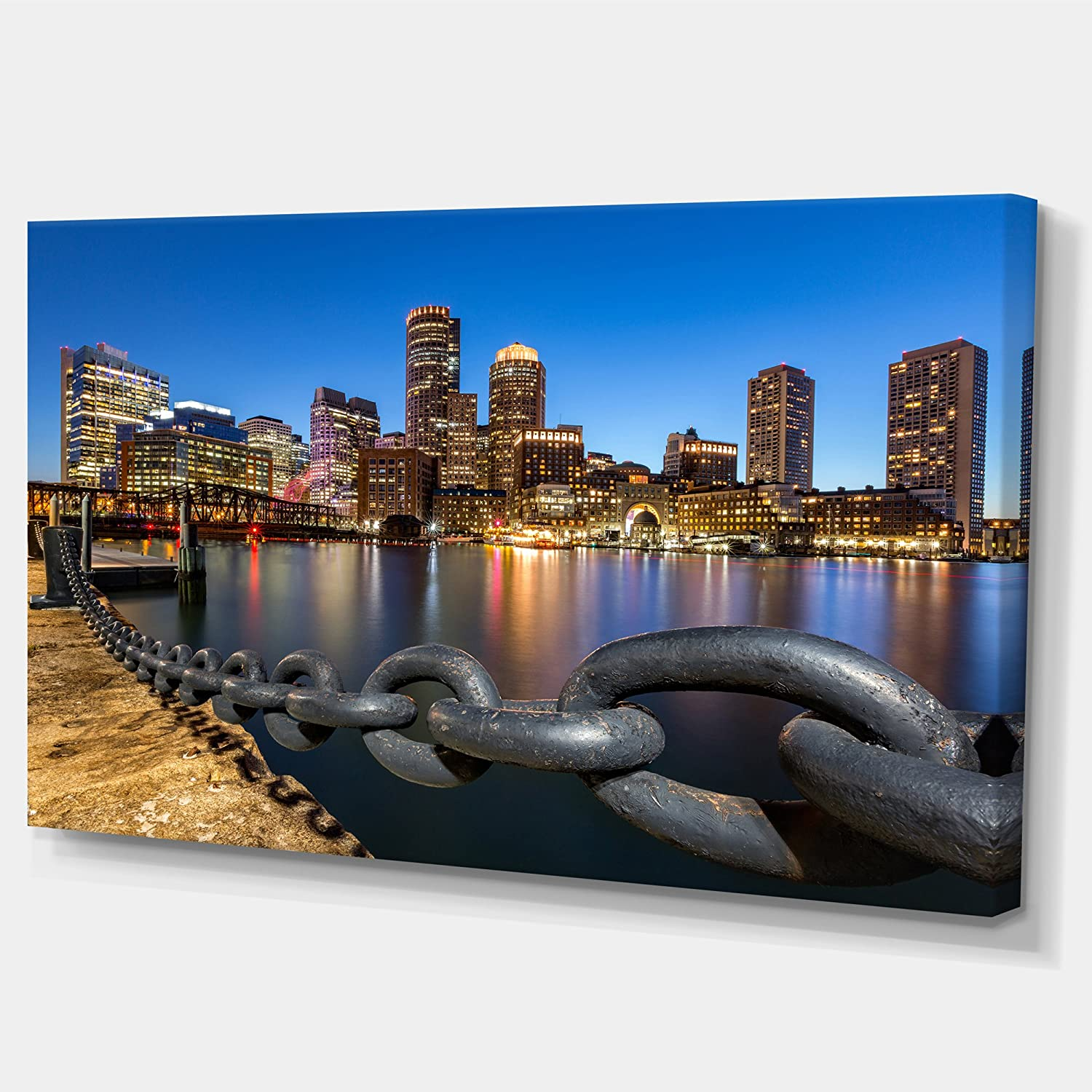60x28-5 Equal Panels Designart Boston Skyline at Dusk-Cityscape Photo Canvas Print-60x28-5