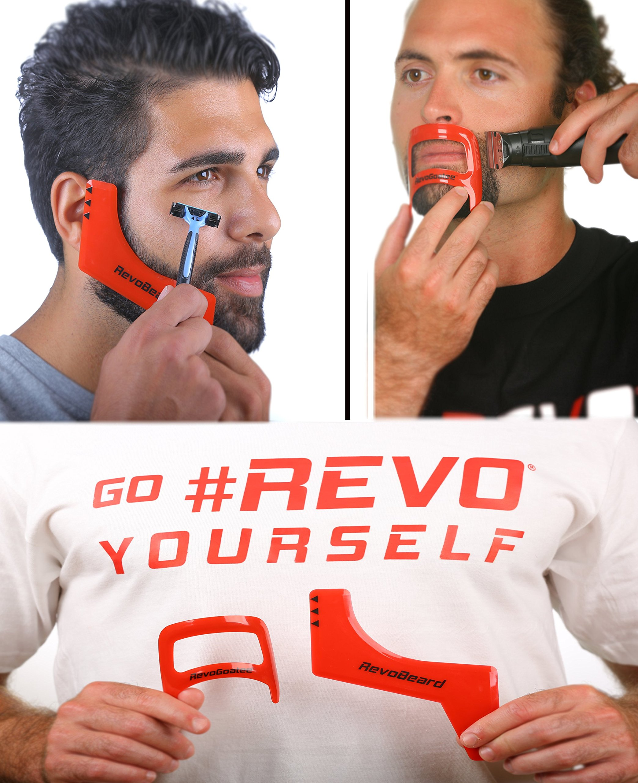RevoBeard & RevoGoatee - Beard & Goatee Shaping Edge Up Tool Kit - Template for Shaving, Trimming and Lineup - Self Cut Guide Stencil - Mens Grooming Set - Use W/Beard Trimmer or Hair Clippers