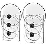 Utopia Home Cabinet Door/Wall Mount Pot Lid Organizer Rack – Pack of 2 - Stainless Steel Material with Silver Finishing - Three Slots Pot Lid Holder – Easy to Install