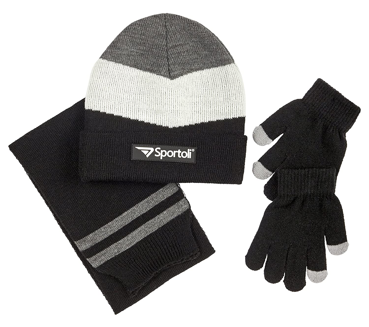 b754c51735e7d Available in big boy s and in little boys  size 3-piece set includes  chevron knit beanie hat with a matching scarf and gloves