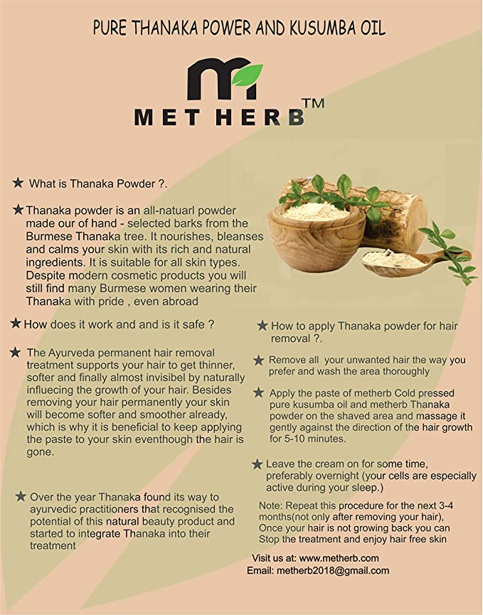 Buy Metherb Thanaka Powder 50g For Permanent Hair Removal Eco
