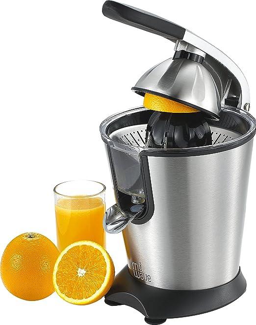 MyWave Nido - Exprimidor de Zumo con Palanca 160 W, ideal para Naranjas y otros cítricos, 2 conos exprimidores intercambiables, surtidor Antigoteo - Acero ...