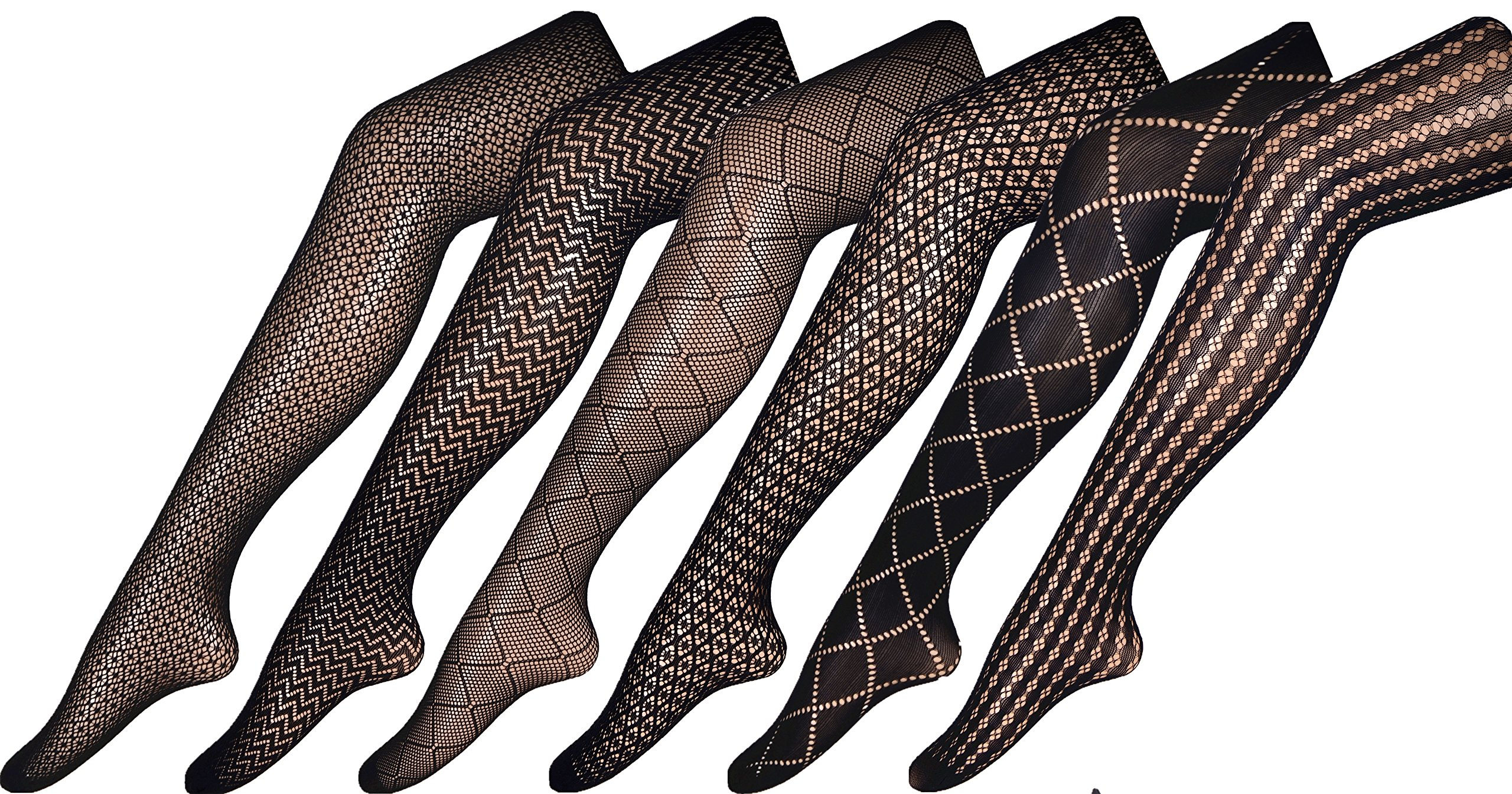 Chirrupy Chief Assorted-Pack Patterned Fishnet Pantyhose 3 Designs Per L XL XXL (XL, BlackX6-1)