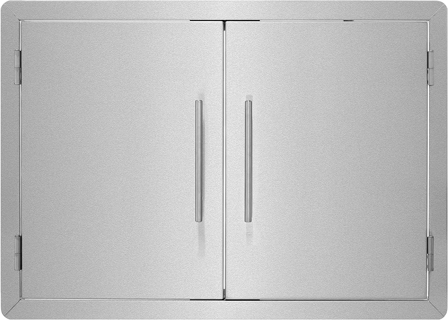 AdirHome Stainless Steel Grill Double Access Single-Face Door - Easy Install Heavy Duty Stainless Steel Rust Resistant Access Door with Chromium Plated Handle (30 Inch)