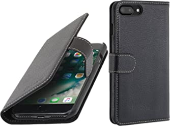 "StilGut Talis Case con tasca per carte , custodia in pelle cover per iPhone 7 Plus & iPhone 8 Plus (5,5""). Chiusura a libro Flip-Case in vera pelle lavorata a mano, Nero"