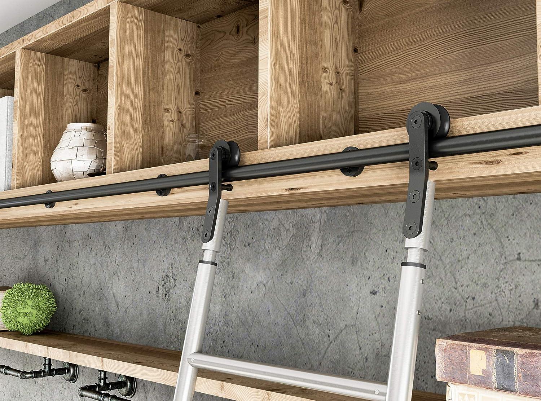 3.3FT-33FT Black Steel Sliding Closet Library Office Ladder Hardware Track kit