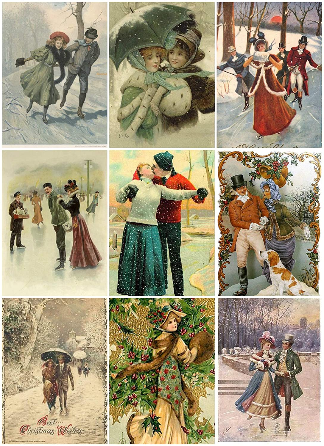Victorian Vintage Winter Christmas Card #101 Printed Collage Sheet 8.5 x 11 Paper Moon Media