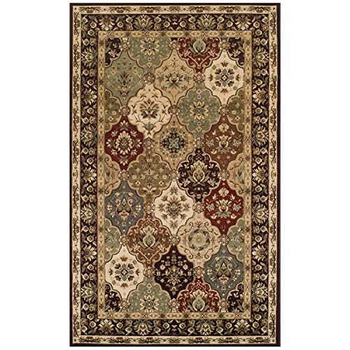 Blue Nile Mills Zohra Indoor Area Rug, Floral Medallion Pattern, Super Soft, Durable, Elegant, Traditional, Oriental, Contemporary Style, Jute Backing, Brown, 5 x 8
