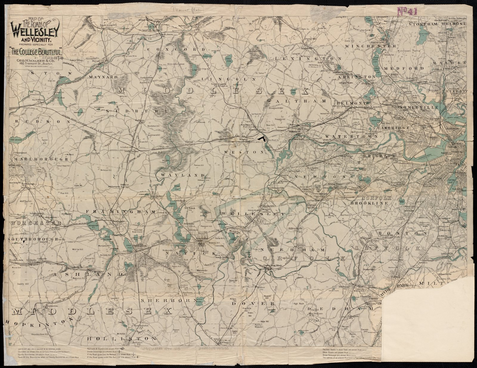 Historic Map | ca. 1894 Map of the roads of Wellesley and vicinity | Antique Vintage Reproduction