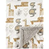 Luvable Friends Unisex Baby Plush Blanket with Sherpa Back, Neutral Safari, One Size