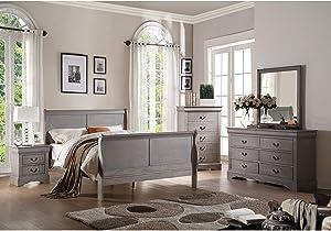 ACME Louis Philippe III Eastern King Bed - 25497EK - Antique Gray