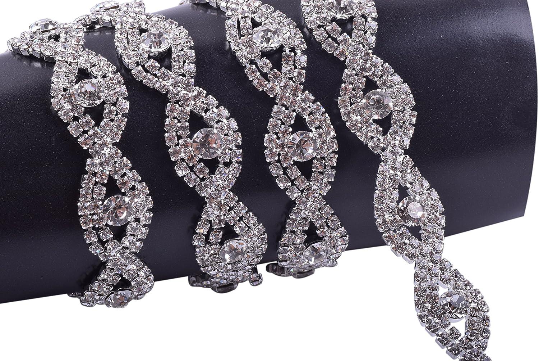 KAOYOO 1 Yard Eye-Shaped Crystal Rhinestone Chain Trim Sewing Trims for Wedding Cake Decoration,Sewing Craft