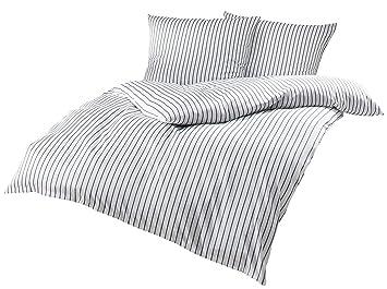 Mako Satin Bettwäsche Grau Weiß Gestreift 220x240 2x 80x80 Cm 100