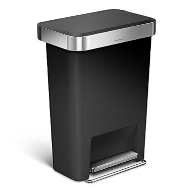 simplehuman Rectangular Step Liner Pocket Trash can, 45 L/11.9 Gallon, Black Plastic