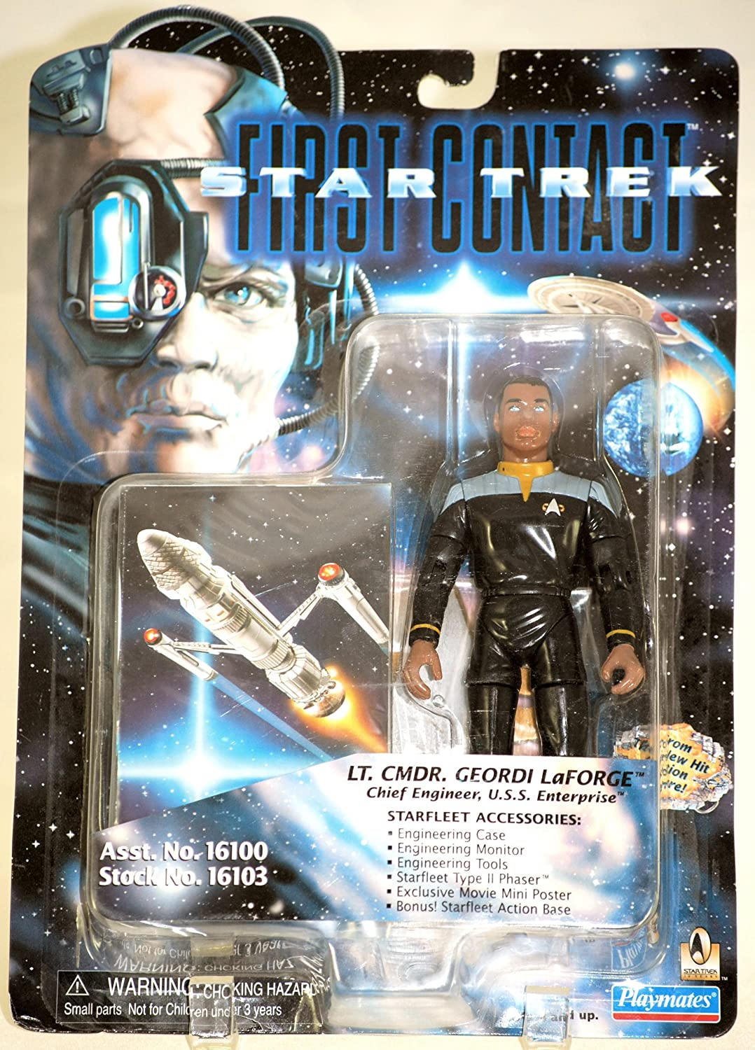 Star Trek First Contact Lt Geordi LaForge 6 inch Action Figure Playmates Toys Inc 16103 Cmdr