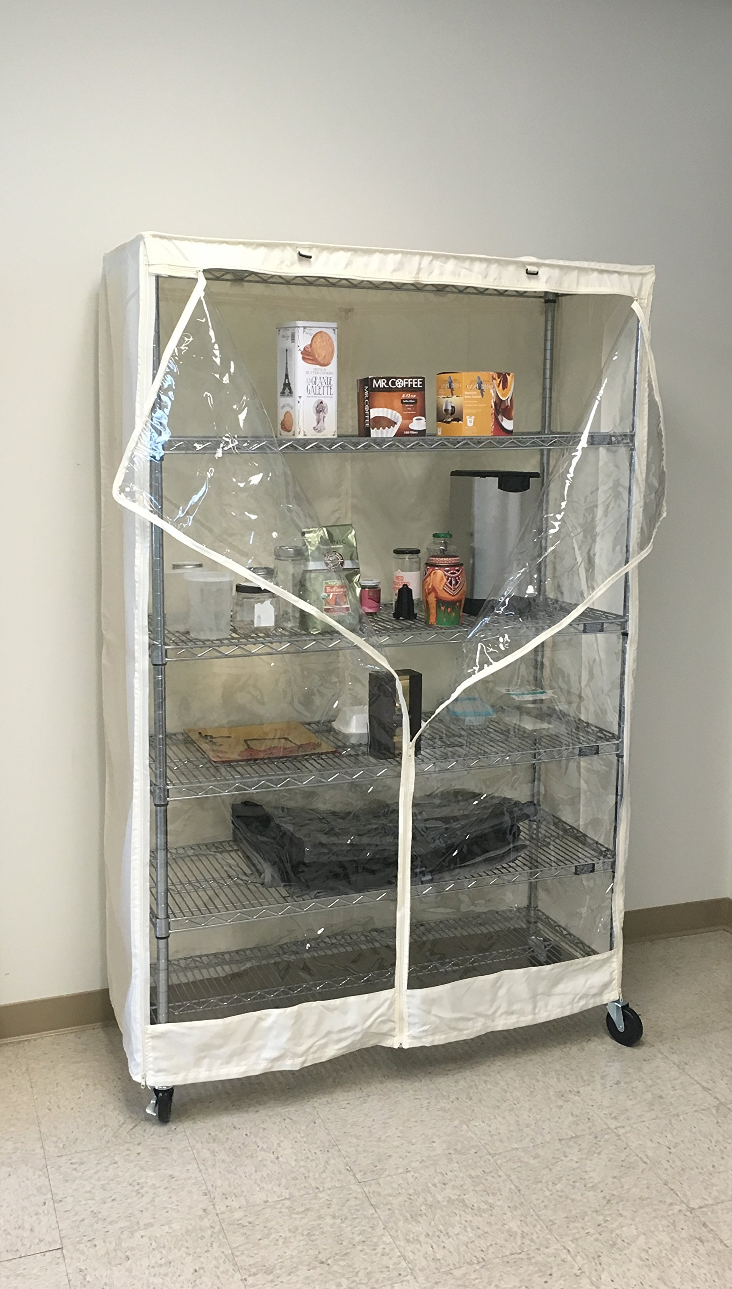 Formosa Covers Storage Shelving Unit Cover Off White, fits Racks 48'' Wx18 Dx72 H one Side See Through Panel (Cover only)