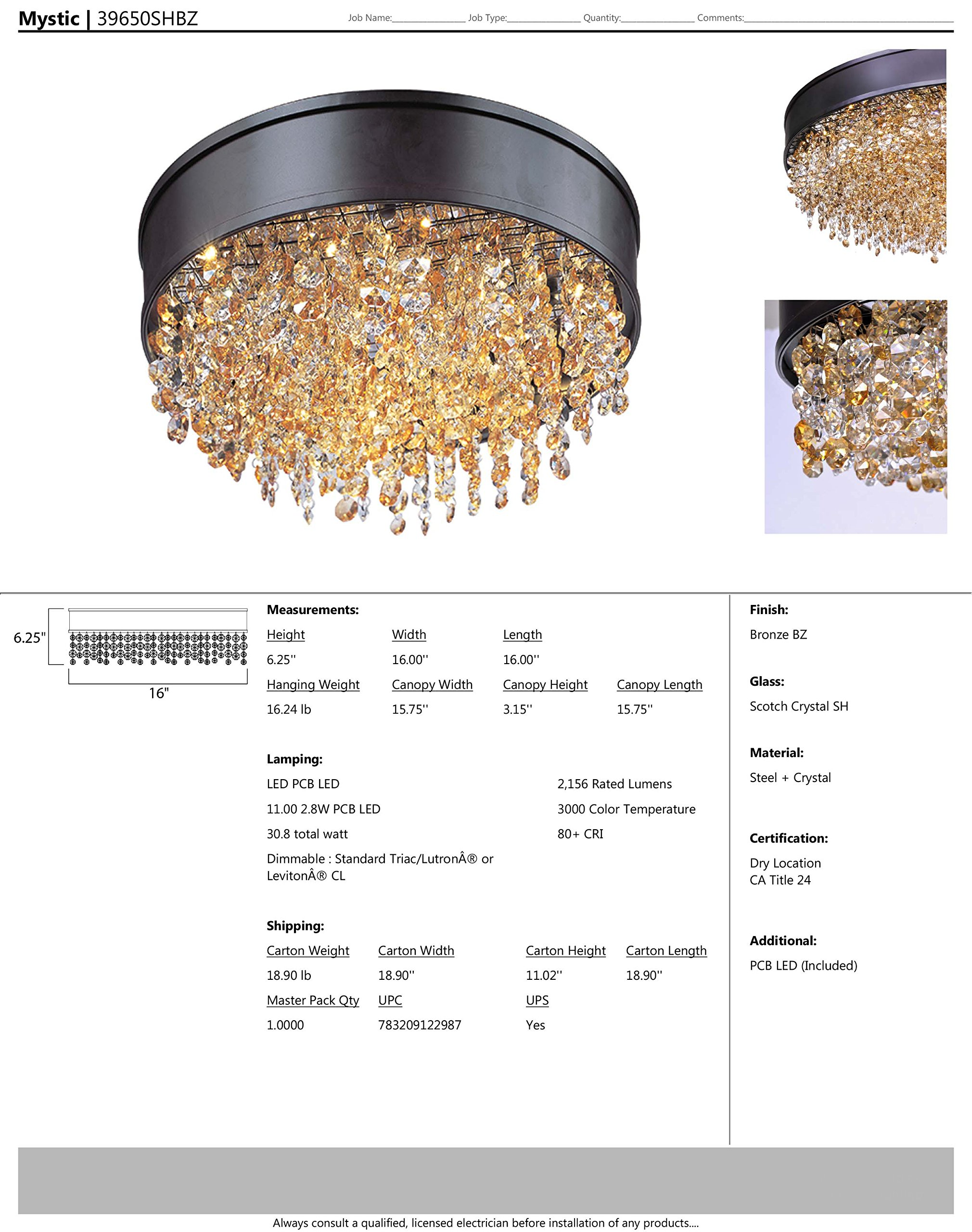 Maxim 39650SHBZ Mystic 11-Light LED Flush Mount, Bronze Finish, Scotch Crystal Glass, PCB LED Bulb , 75W Max., Wet Safety Rating, Shade Material, Rated Lumens by Maxim Lighting (Image #2)