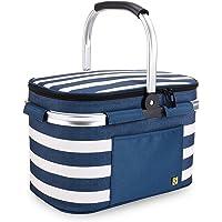ALLCAMP OUTDOOR GEAR Picnic Baskets 22L (Blue White Stripe)