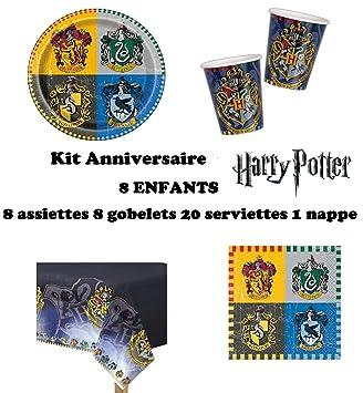 Set Completo cumpleano Harry Potter Decoración Cumpleaños 8 Niños (8 Platos, 8 Tazas, 20 servilletas,1 Mantel) Fiesta para 8 Niños