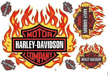 Aufkleber Set Harley Davidson Flammen Gelb Orange Ca 26x17cm Auto