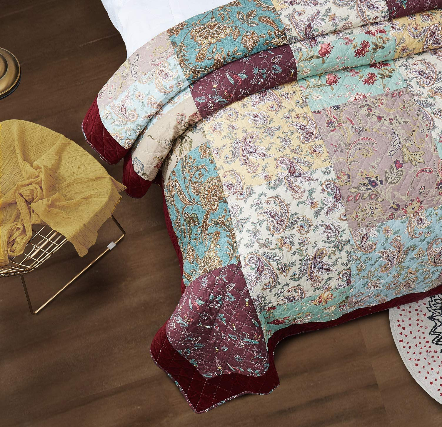 DaDa Bedding Bohemian Patchwork Bedspread - Burgundy Wine Velvety Trim - Vintage Floral Roses Paisley - Bright Vibrant Multi-Colorful Quilted Set - Queen - 3-Pieces by DaDa Bedding Collection (Image #2)