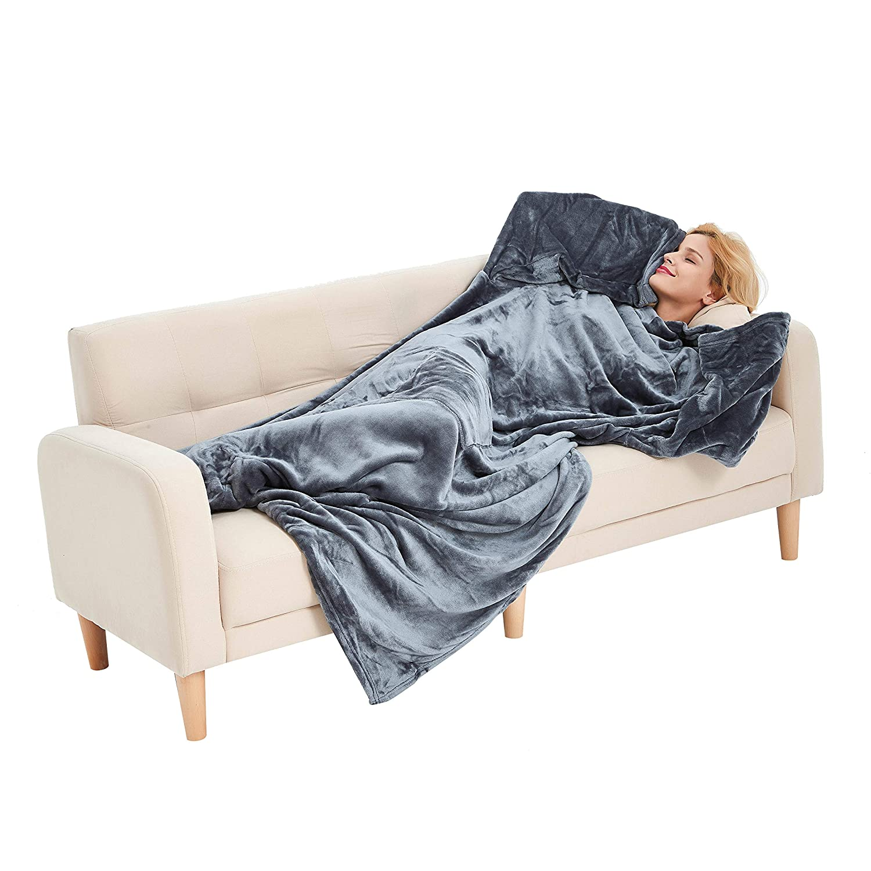 Navy U2SKIIN TV Wearable Blanket Fleece Blanket with Sleeves Throw Pillow