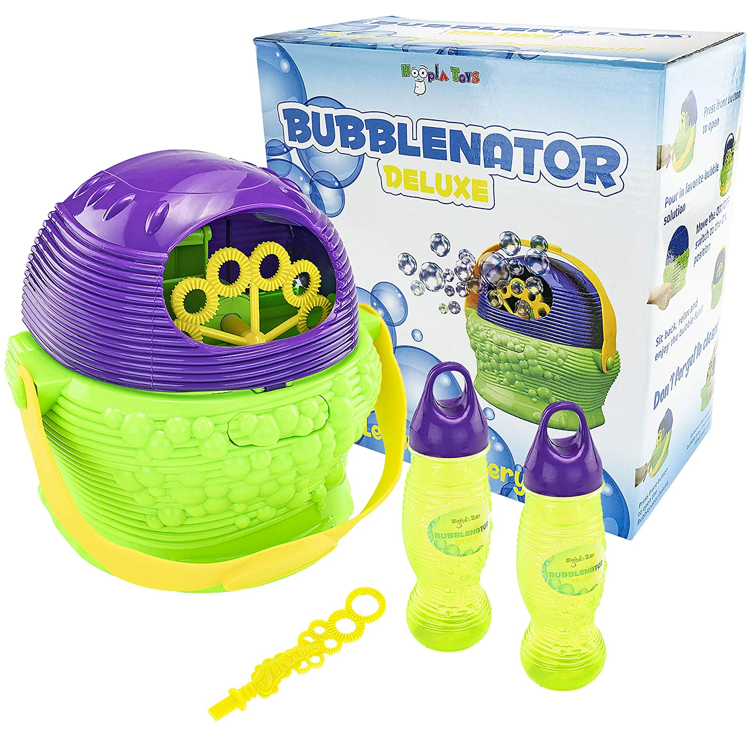 Hoopla Toys ht-10004 bubblenatorデラックスBubble Blower Battery PoweredマシンKids Toy B0756V84XP