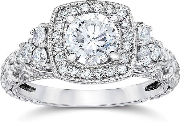 1ct Cushion Halo Round Diamond Vintage Engagement Ring 14k White Gold Amazon Com