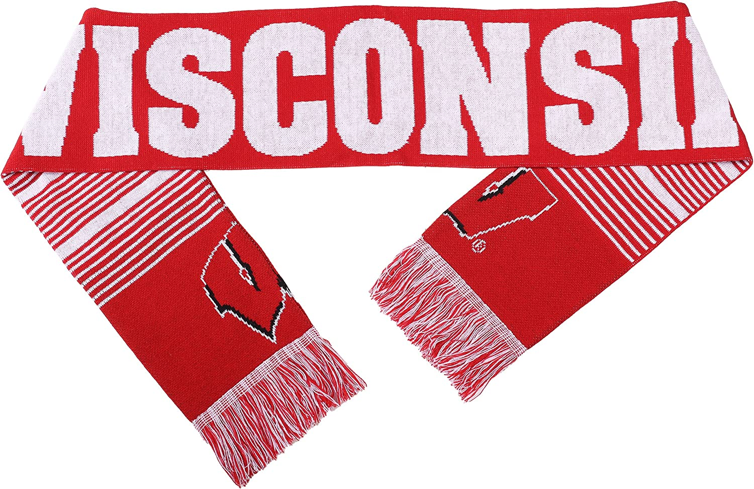 NCAA Wisconsin Badgers Reversible Split Logo Scarf One Size Team Color