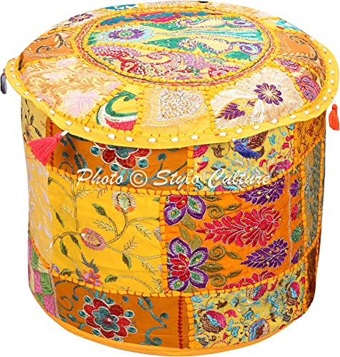 Stylo Culture Indian Pouffe Footstool Cover Round Patchwork Embroidered Pouf Ottoman Yellow Cotton Floral Traditional Furniture Seat Puff 18x18x13 Bean Bag Living Room Decor