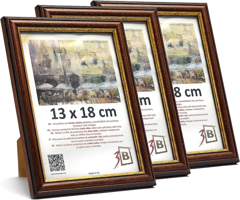 3-B Set de 3 pi/èces Cadres Bari Rustique Cadre pour Photo 9x13 cm Cadre en Bois fonc/é Brun