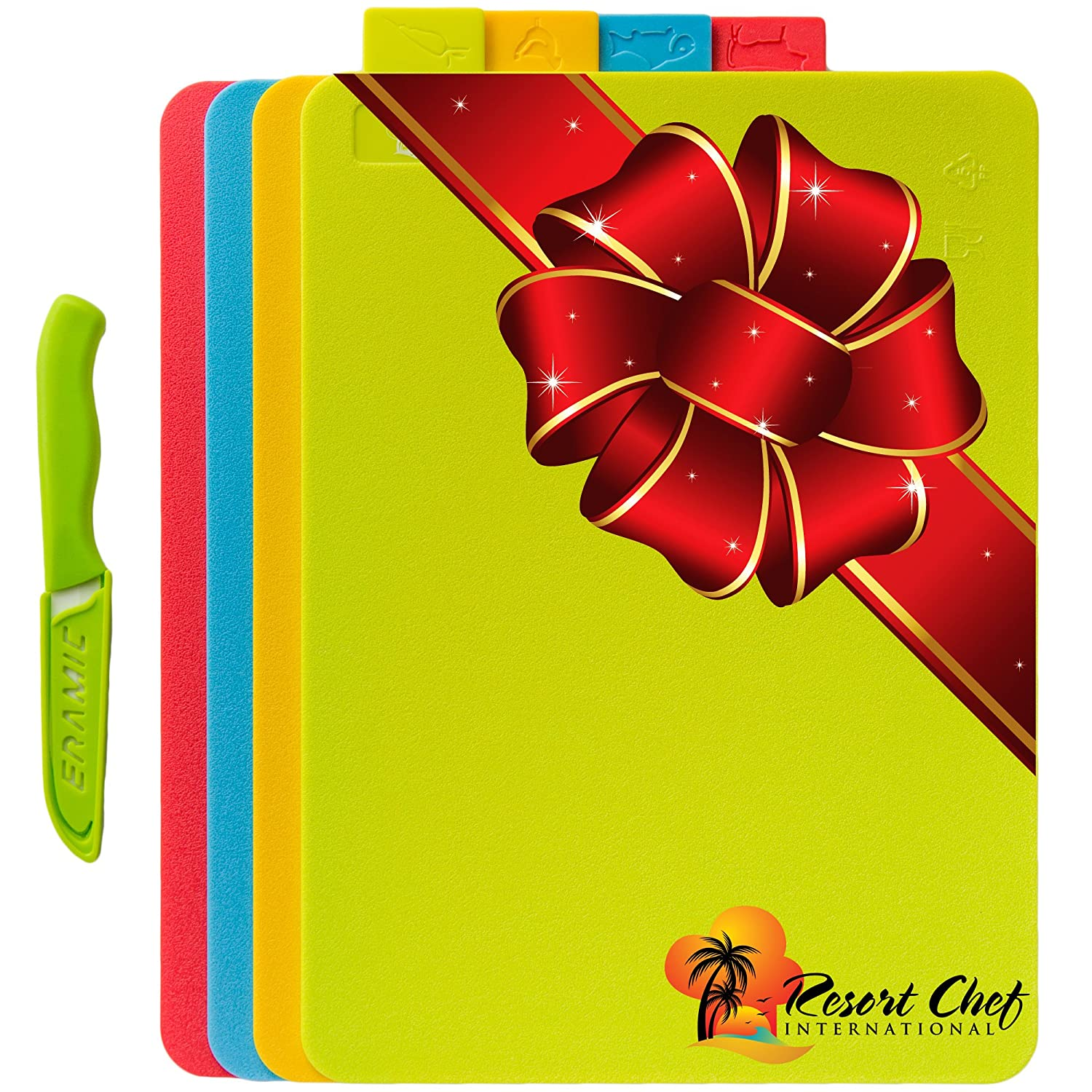 Cutting Board 4 Piece Set with Food Icons - Dishwasher Safe, Includes FREE Ceramic Knife