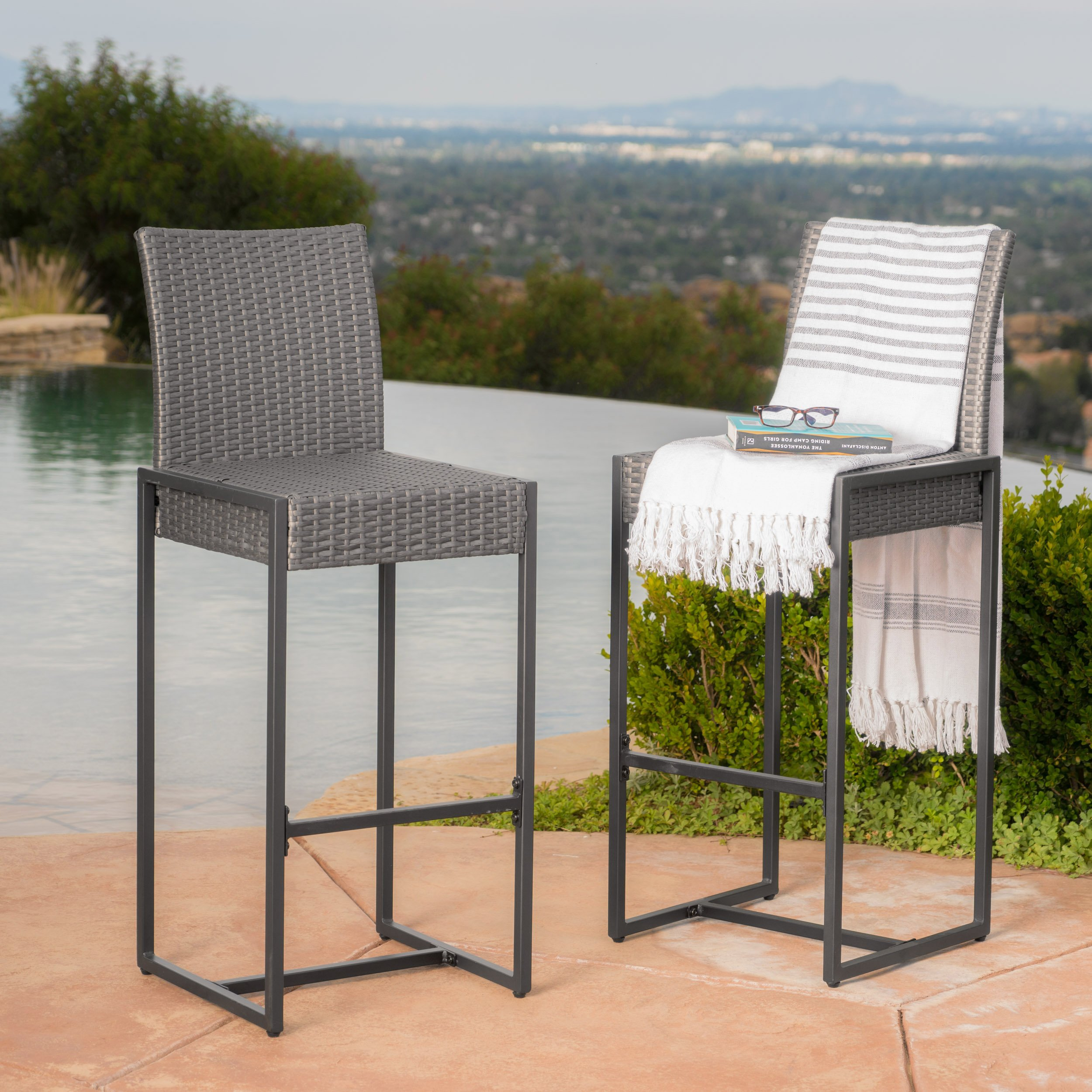 Conrad Patio Furniture Outdoor Wicker Bar Stools (Set of 2) (Grey)