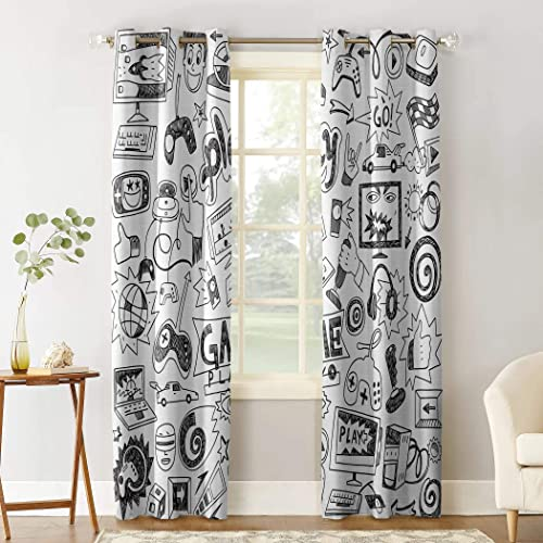 Edwiinsa Video Games Kitchen Curtains Window Drapes Treatment, 2 Panels Set for Kitchen Cafe Office, Monochrome Sketch Gaming Racing Monitor Device Gadget Teen 90 s, 104W x 90L inch