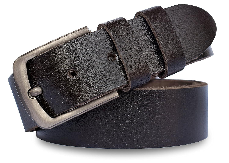 3c04ec742970 MT Men's Full Grain leather Belt for Jeans, 1.5'' Soft & Thick- Black & Dark  Brown- Sale Price only 16.99$.