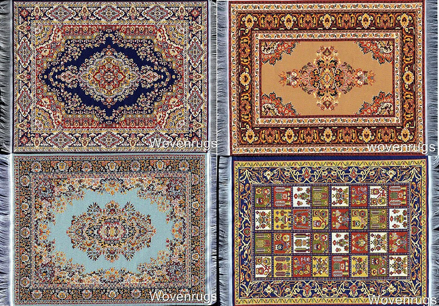 Inusitus Set of 4 Dolls House Rugs for Dollhouse Furniture - Miniature Woven Dollhouse Carpet (Mixed Colors)