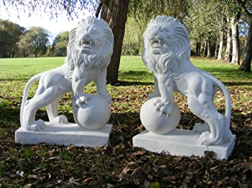 Large Garden Statues   English Lions   Marble Sculptures