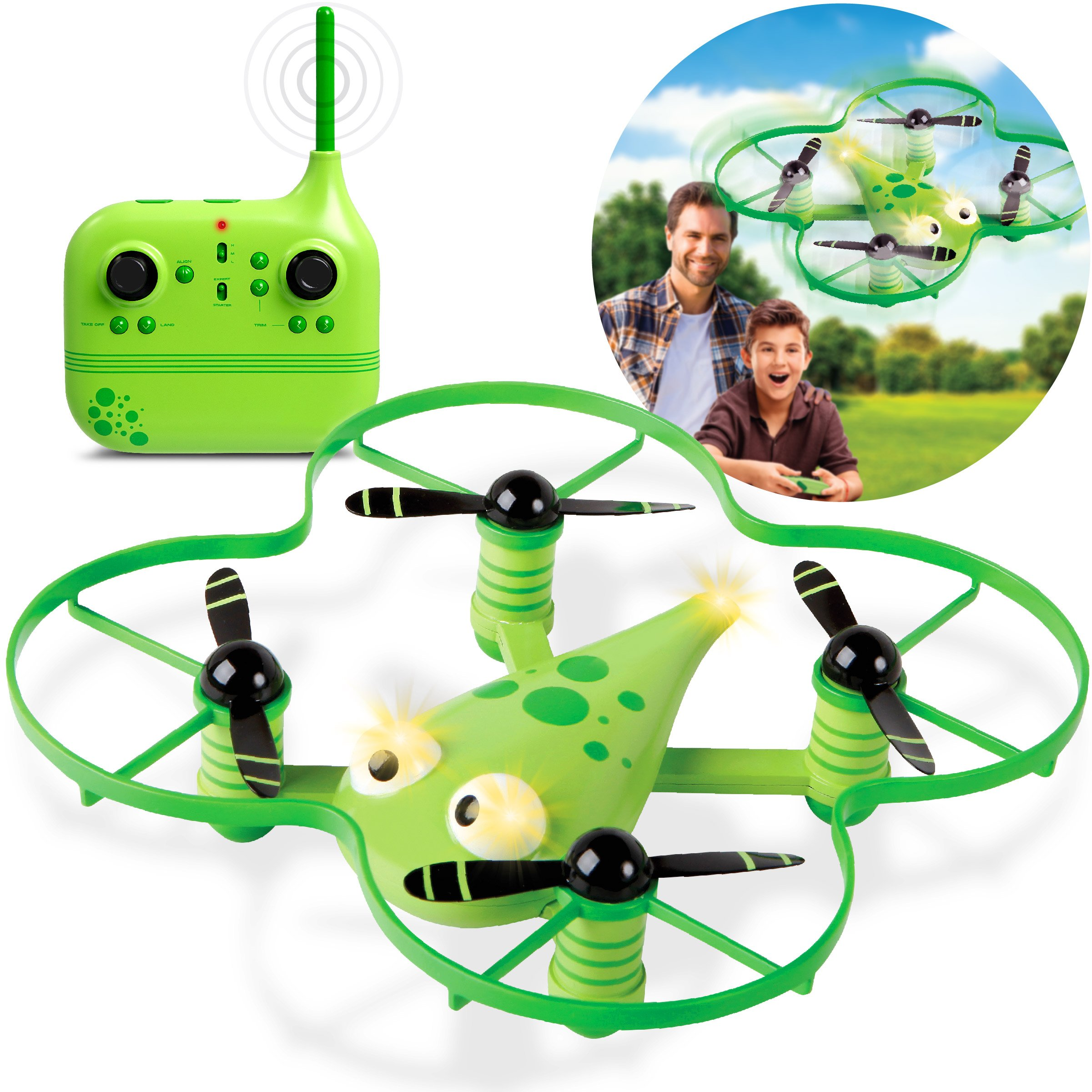 DISCOVERY KIDS RC Mini Quadcopter Stunt Drone Zip 360 Degrees, First Training Drone for Children, Adults, and Beginners, LED Light Eyes & Tail, Beginning & Expert Modes, One Key Return & 3D Flip