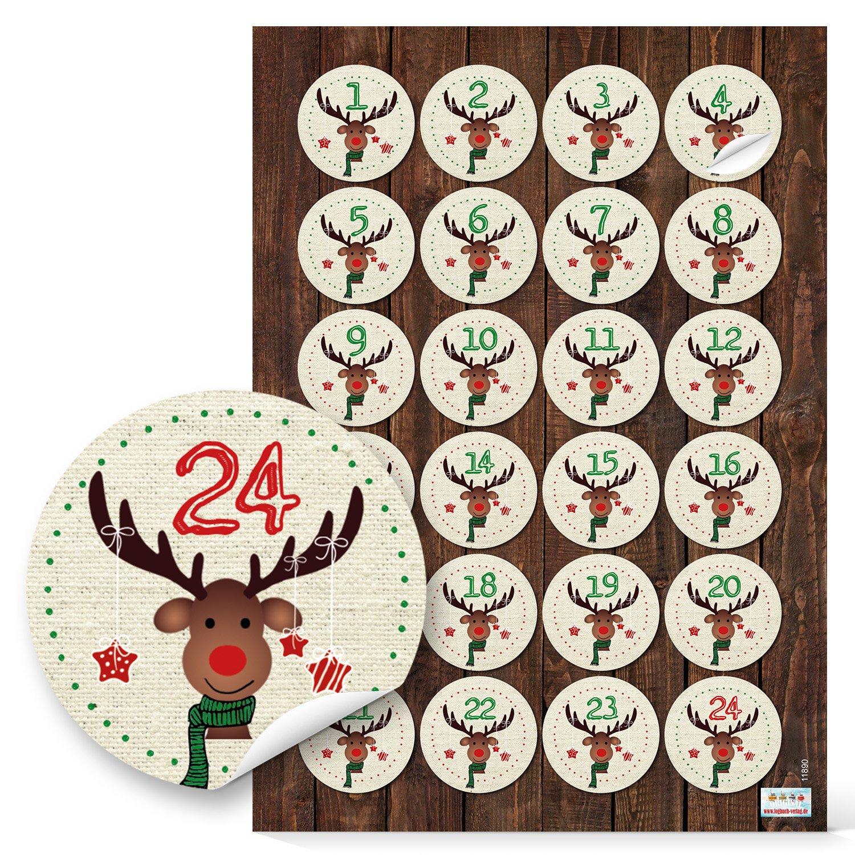Lot de 2 x 24 chiffres de l'Avent avec chiffres de 1 à 24 chiffres autocollants, rouge et vert pour enfants, calendrier de l'Avent 4 cm, calendrier de l'Avent avec sachets en papier personnalisables. Jeanette Dietl