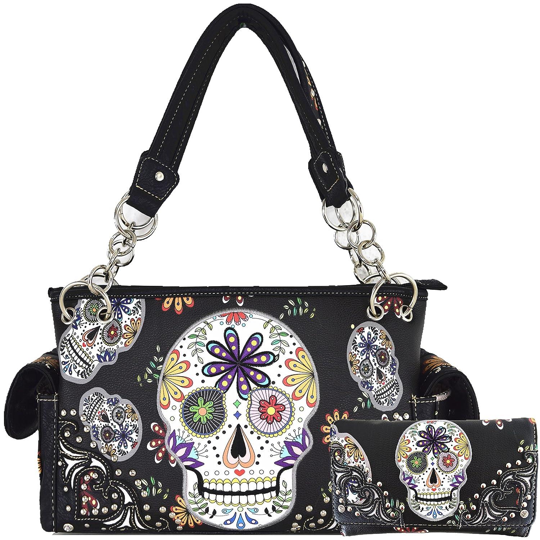 78173304da3b Sugar Skull Day of the Dead Halloween Purse Concealed Carry Handbag Women's  Shoulder Bag Wallet Set Black