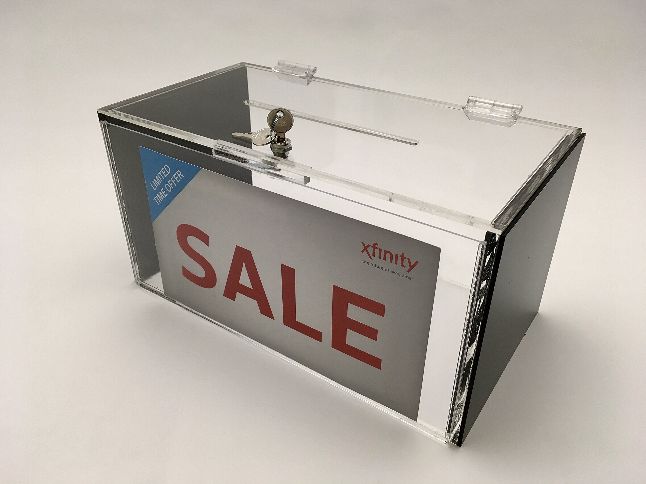New Large Acrylic Donation & Ballot Box With Lock- Clear & Black & Sign Holder