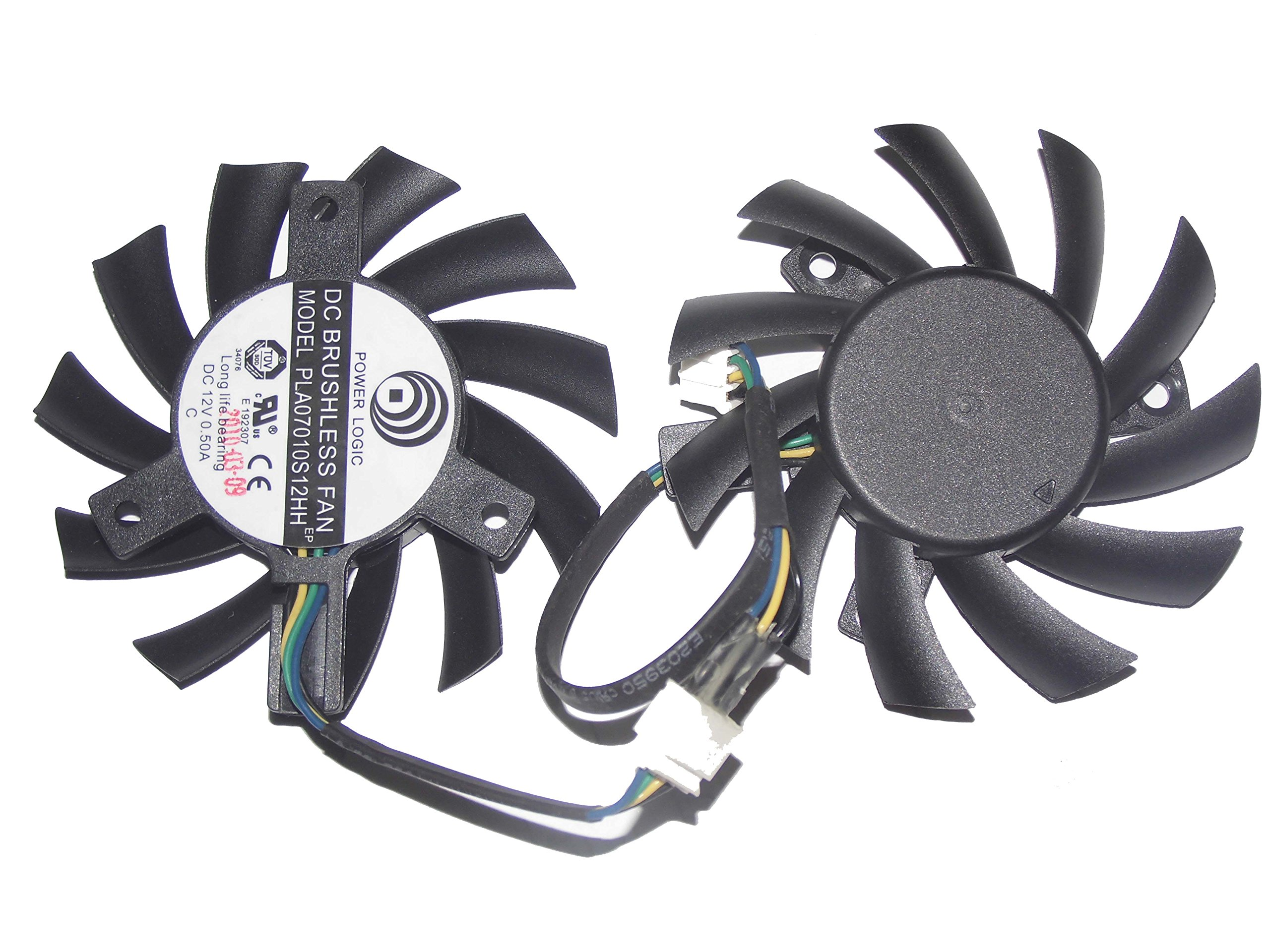 Power Logic PLA07010S12HH 12V 0.5A 4Wire Twin Cooling Fan