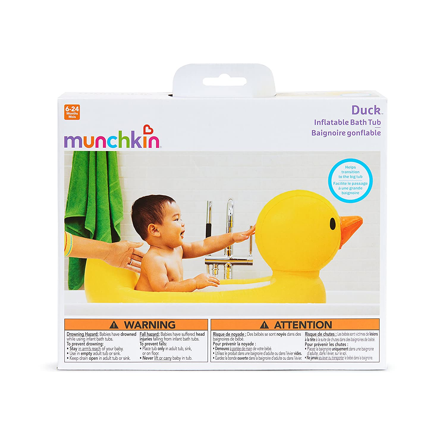 Munchkin White Hot Inflatable Duck Tub : Baby Bathing Seats And Tubs : Baby