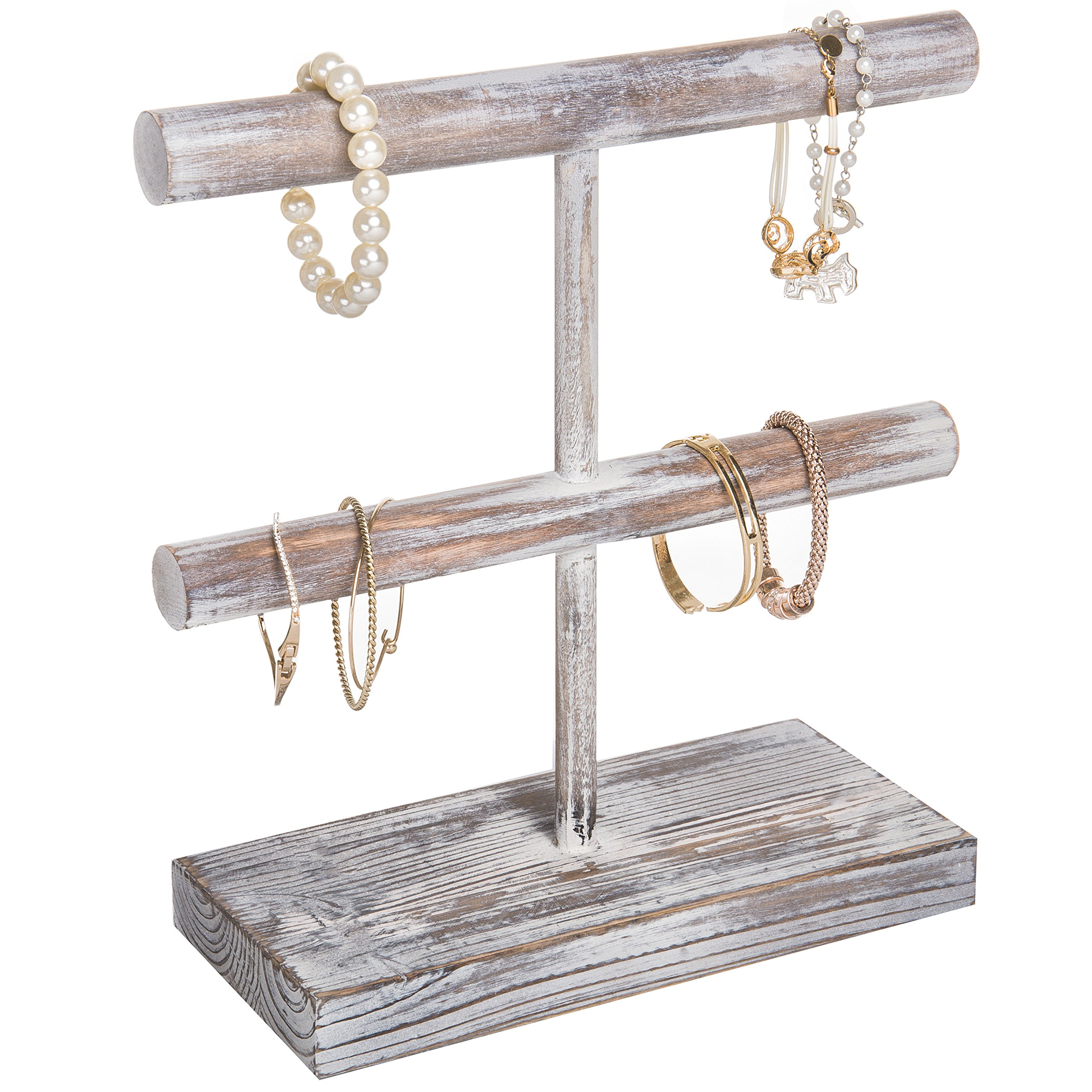 MyGift Rustic 2-Tier Torched Wood T-Bar Jewelry Display Rack, Bracelet & Watch Organizer